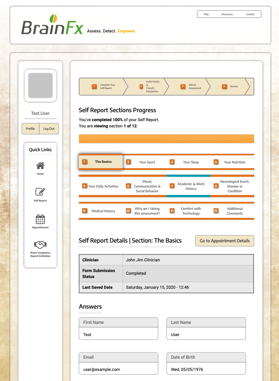 BrainFx 360 self report screenshot