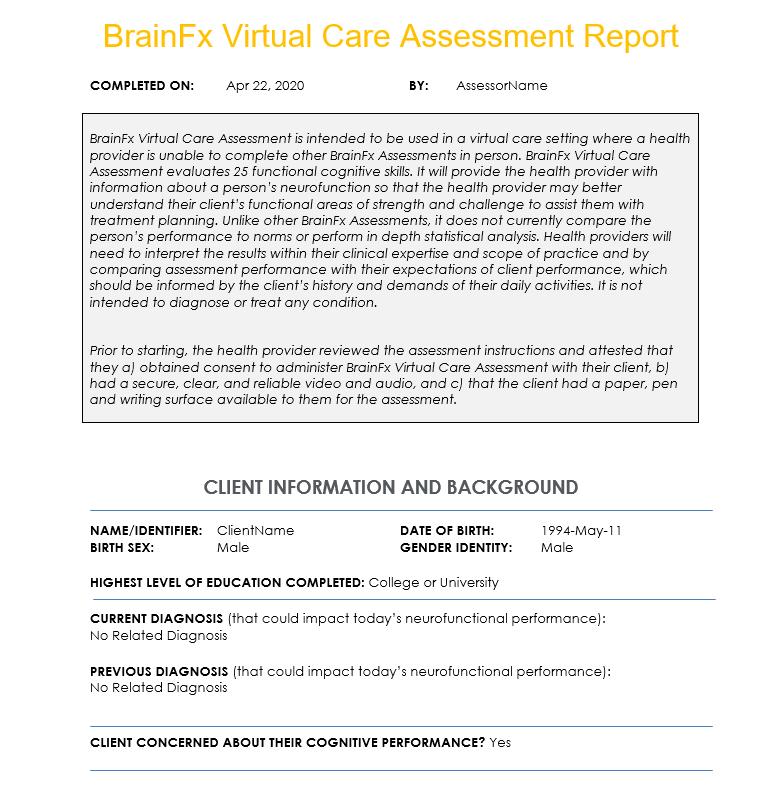 BrainFx SCREEN sample report